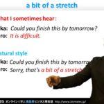 "Bizmates初級ビジネス英会話 Point 135 ""a bit of a stretch"""