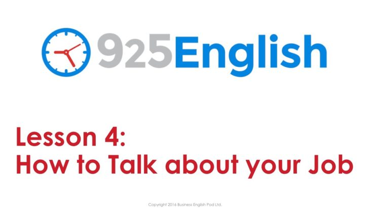 925 English Lesson 4 – Talking about your Job in English | English Conversation