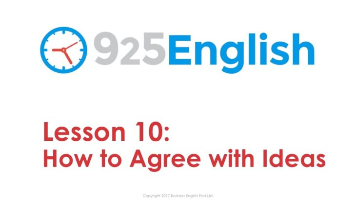 925 English Lesson 10 – How to Agree with Ideas in English   Business English Conversation