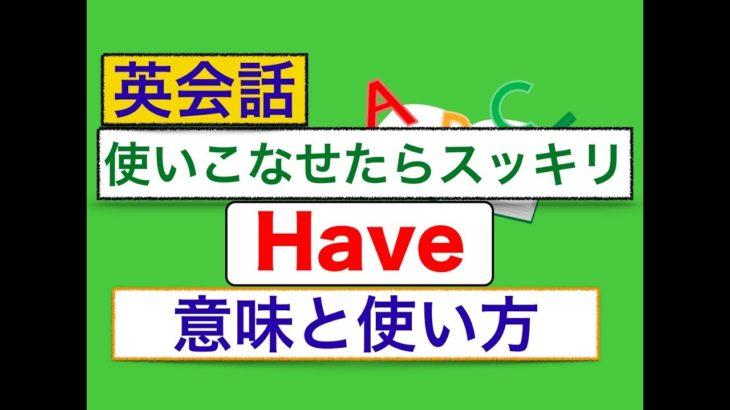 英語のHave:色んな意味と使い方が身につくレッスン動画