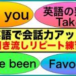 【英語で会話力アップ】会話で使う英語フレーズ#15(聞き流しリピート練習)Did you, 英語の熟語Take, Have been, Favorite