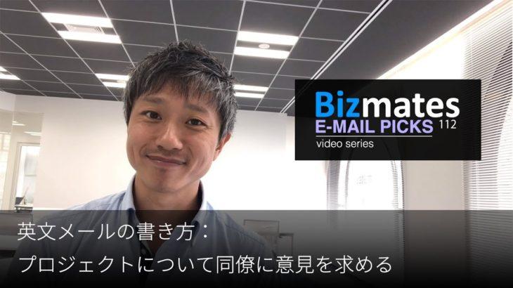 英語メールの書き方:「プロジェクトについて同僚に意見を求める」Bizmates E-mail Picks 112