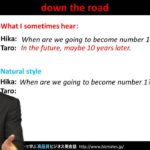"Bizmates無料英語学習 Words & Phrases Tip 164 ""down the road"""