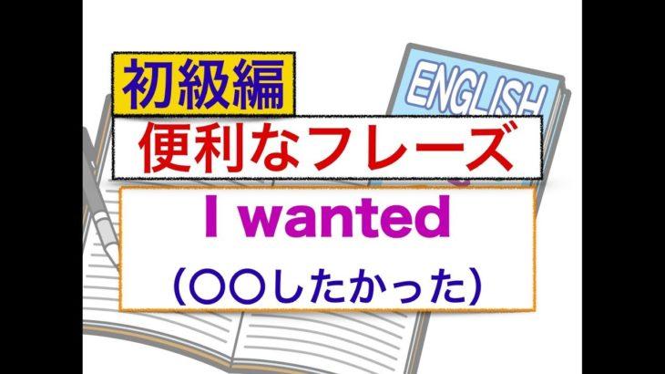 『Wanted』(〇〇したかった)を使った英語フレーズ 話せるようになる練習動画 初級編
