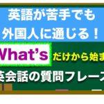 ✴︎超おすすめレッスン✴︎『What's 』だけから始まる 英語が苦手でも簡単に外国人に通じる質問フレーズ!