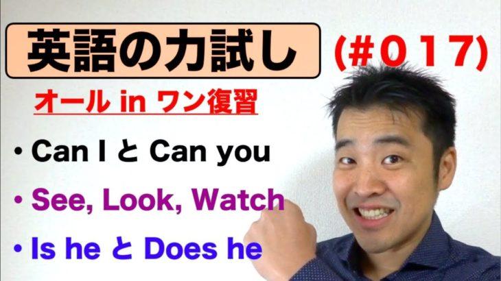 英語の力試し(#017)オールインワン復習編『Can I とCan youの 違い、See, Look,Watchの使い分け方、Is he とdoes he 違い』など