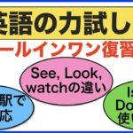 あなたはどれ位正しく言えるかな?【英語の力試し#29】(See, Look, Watchフレーズ、Is he とDoes he フレーズ、電車の駅で神対応フレーズ)