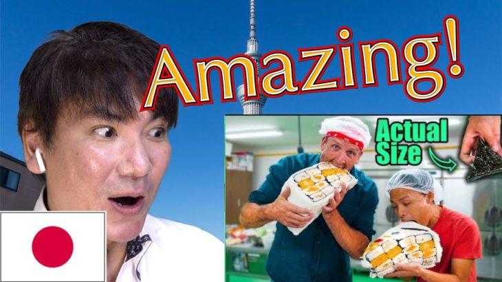 "Japanese reacts to ""100X HUGE Japanese Onigiri!! Japanese MiniMart Sushi, Sandwiches and More!!"""